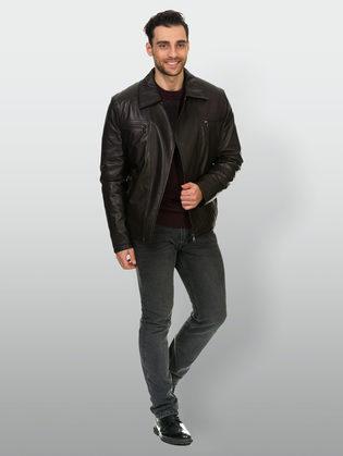 Кожаная куртка кожа овца, цвет коричневый, арт. 07902979  - цена 14990 руб.  - магазин TOTOGROUP