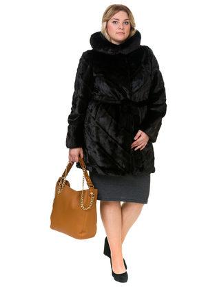 Шуба под норку мех под норку, цвет темно-коричневый, арт. 07902988  - цена 12690 руб.  - магазин TOTOGROUP