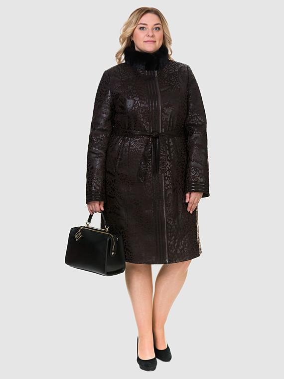 Кожаное пальто эко-замша 100% П/А, цвет коричневый, арт. 07903211  - цена 8990 руб.  - магазин TOTOGROUP