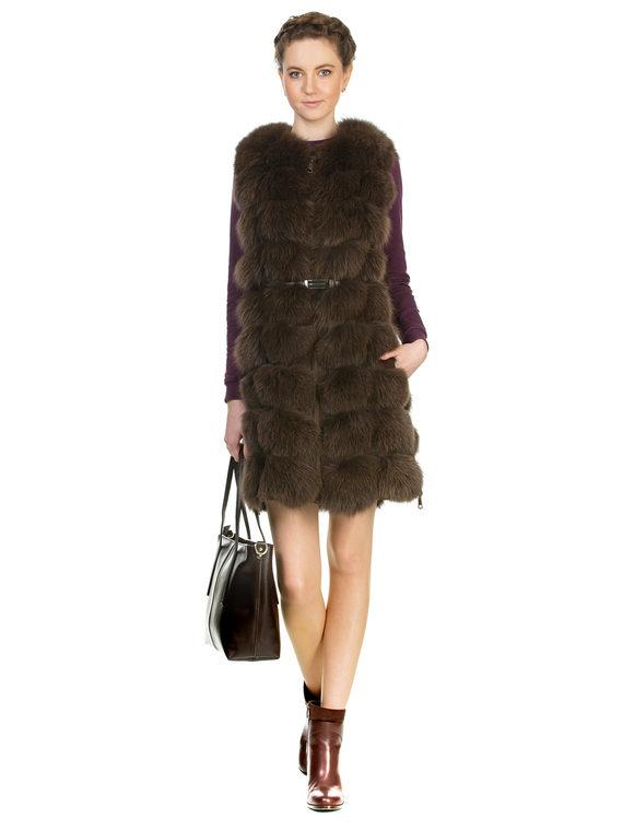 Меховой жилет мех песец, цвет коричневый, арт. 07903285  - цена 11290 руб.  - магазин TOTOGROUP