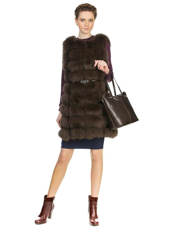 Меховой жилет мех песец, цвет коричневый, арт. 07903286  - цена 10590 руб.  - магазин TOTOGROUP