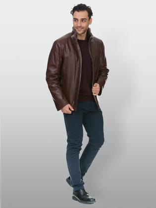 Кожаная куртка кожа коза, цвет коричневый, арт. 07903386  - цена 23990 руб.  - магазин TOTOGROUP
