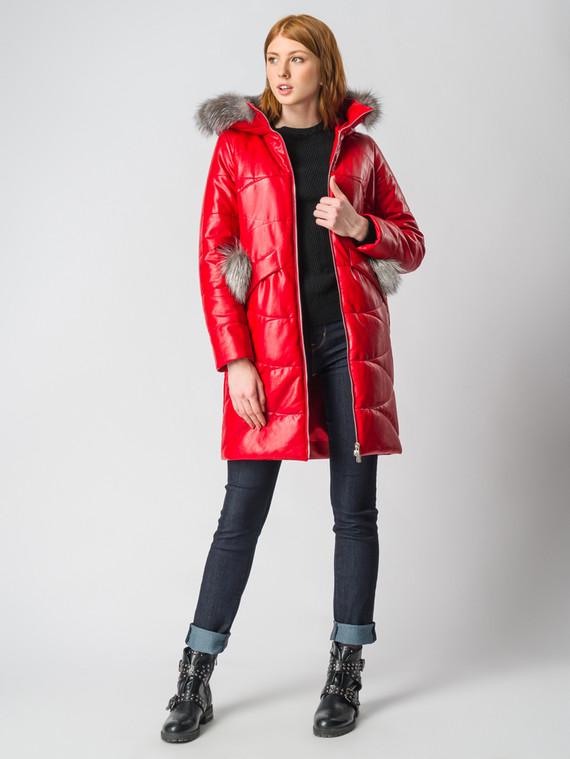 Кожаное пальто эко-кожа 100% П/А, цвет красный, арт. 08006180  - цена 6630 руб.  - магазин TOTOGROUP
