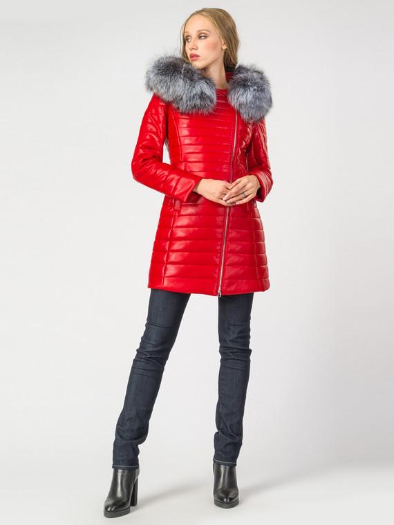 Кожаное пальто эко-кожа 100% П/А, цвет красный, арт. 08006842  - цена 10590 руб.  - магазин TOTOGROUP