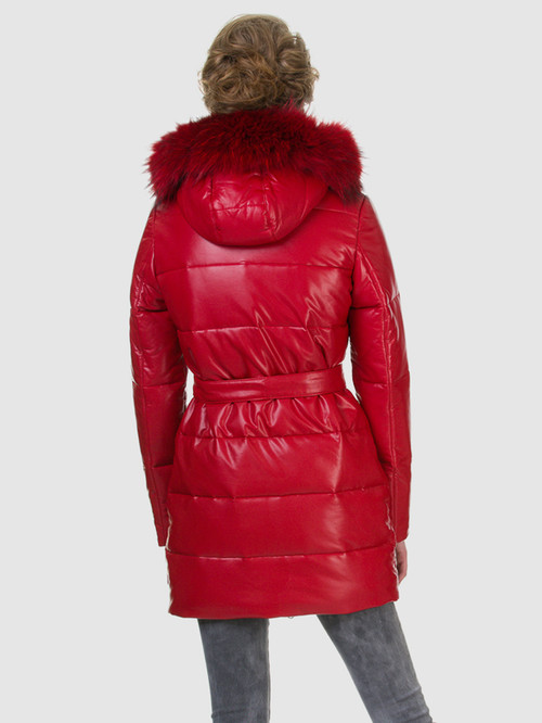 Кожаное пальто артикул 08602762/42 - фото 3