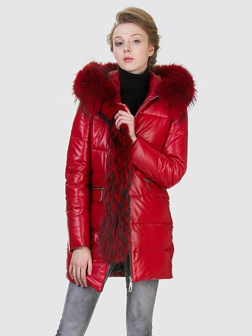 Кожаное пальто артикул 08602762/42 - фото 4