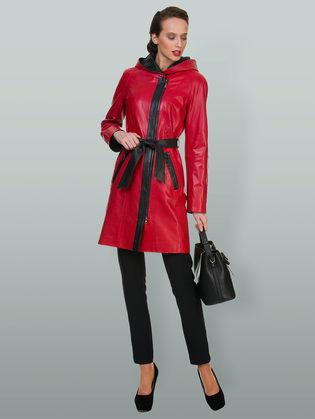 Кожаное пальто кожа овца, цвет красный, арт. 08700112  - цена 18990 руб.  - магазин TOTOGROUP