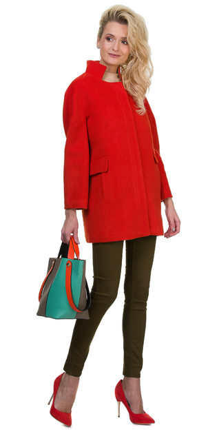 Текстильное пальто 30%шерсть, 70% п\а, цвет красный, арт. 08700397  - цена 2990 руб.  - магазин TOTOGROUP