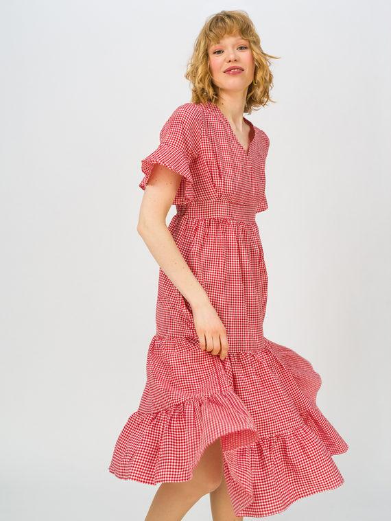 Женское платье 80% хлопок, 20% п\э, цвет красный, арт. 08711689  - цена 990 руб.  - магазин TOTOGROUP