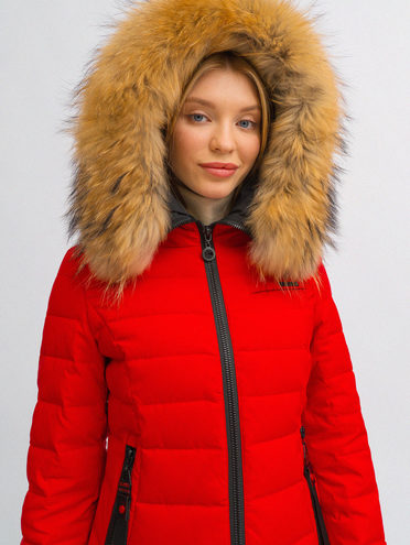 Пуховик 100% полиэстер, цвет красный, арт. 08719002  - цена 11990 руб.  - магазин TOTOGROUP