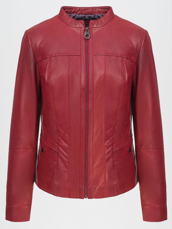 Кожаная куртка кожа, цвет красный, арт. 08802479  - цена 9990 руб.  - магазин TOTOGROUP