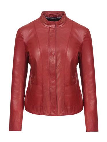 Кожаная куртка кожа, цвет красный, арт. 08802480  - цена 9490 руб.  - магазин TOTOGROUP