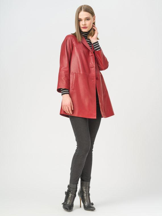 Кожаное пальто кожа, цвет красный, арт. 08802496  - цена 13390 руб.  - магазин TOTOGROUP