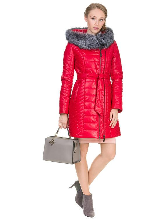 Кожаное пальто эко кожа 100% П/А, цвет красный, арт. 08902729  - цена 9490 руб.  - магазин TOTOGROUP
