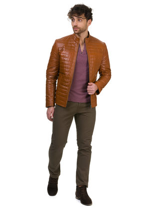Кожаная куртка кожа овца, цвет рыжий, арт. 10700417  - цена 17490 руб.  - магазин TOTOGROUP