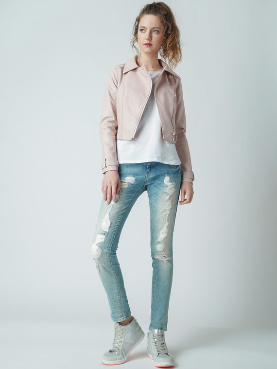 Кожаная куртка эко кожа 100% П/А, цвет розовый, арт. 11005783  - цена 3390 руб.  - магазин TOTOGROUP