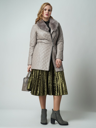 Кожаное пальто эко кожа 100% П/А, цвет бежевый, арт. 11005817  - цена 6990 руб.  - магазин TOTOGROUP