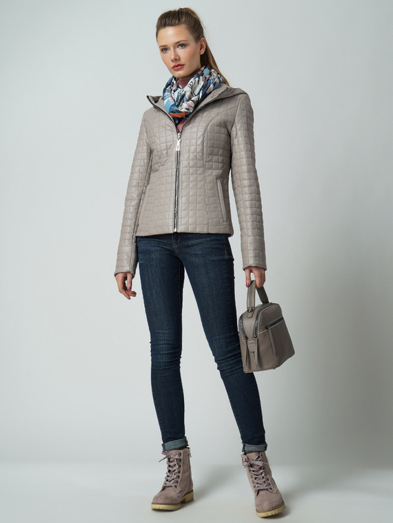 Кожаная куртка эко кожа 100% П/А, цвет бежевый, арт. 11005818  - цена 4740 руб.  - магазин TOTOGROUP