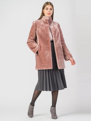 Шуба из мутона мех мутон, цвет розовый, арт. 11006626  - цена 25590 руб.  - магазин TOTOGROUP