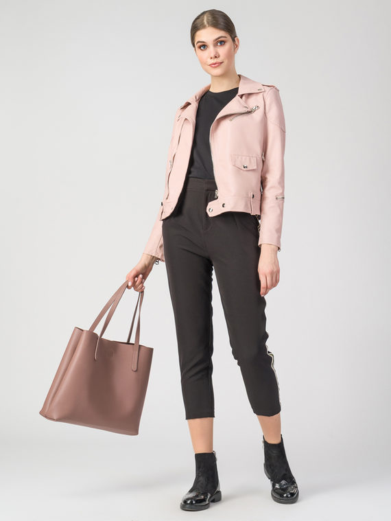 Кожаная куртка эко-кожа 100% П/А, цвет розовый, арт. 11107833  - цена 3990 руб.  - магазин TOTOGROUP