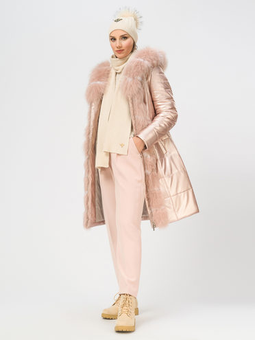 Кожаное пальто эко-кожа 100% П/А, цвет розовый, арт. 11109077  - цена 12690 руб.  - магазин TOTOGROUP