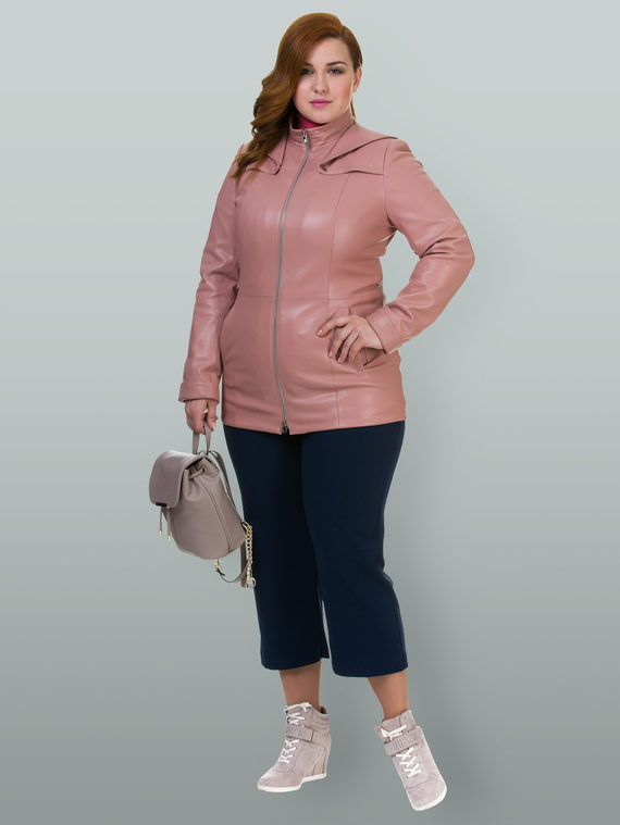 Кожаная куртка эко кожа 100% П/А, цвет розовый, арт. 11700168  - цена 3990 руб.  - магазин TOTOGROUP