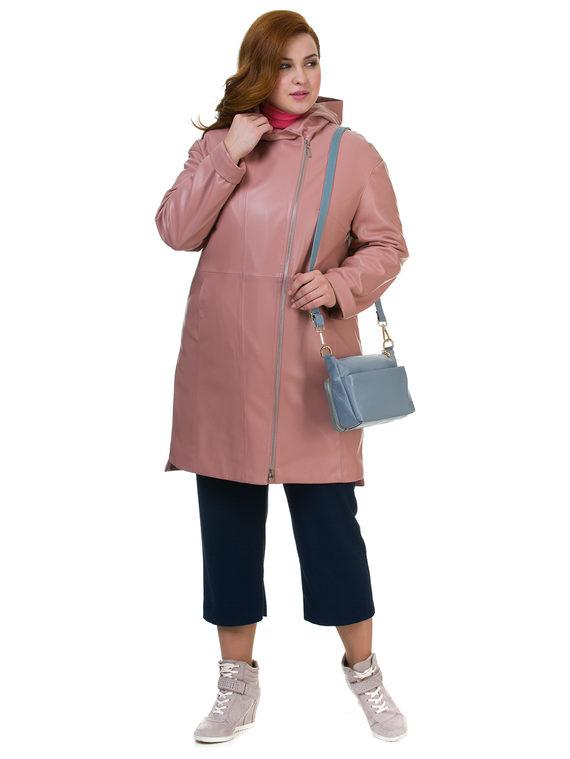 Кожаное пальто эко кожа 100% П/А, цвет розовый, арт. 11700170  - цена 3990 руб.  - магазин TOTOGROUP
