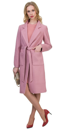 Текстильное пальто 30%шерсть, 70% п\а, цвет розовый, арт. 11700405  - цена 3990 руб.  - магазин TOTOGROUP