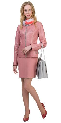 Кожаная куртка эко кожа 100% П/А, цвет розовый, арт. 11700484  - цена 5590 руб.  - магазин TOTOGROUP