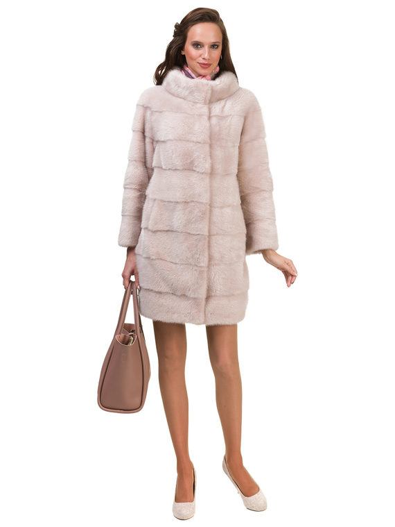 Шуба из норки мех норка, цвет розовый, арт. 11900850  - цена 84990 руб.  - магазин TOTOGROUP