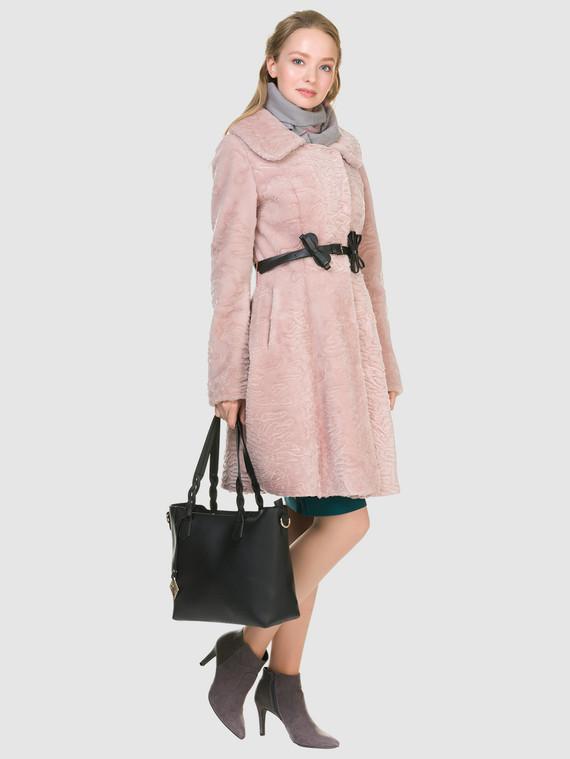Шуба из мутона мех мутон, цвет розовый, арт. 11901148  - цена 26990 руб.  - магазин TOTOGROUP