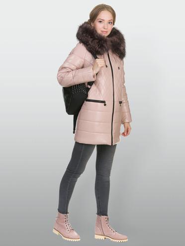 Кожаная куртка эко кожа 100% П/А, цвет розовый, арт. 11902656  - цена 14190 руб.  - магазин TOTOGROUP