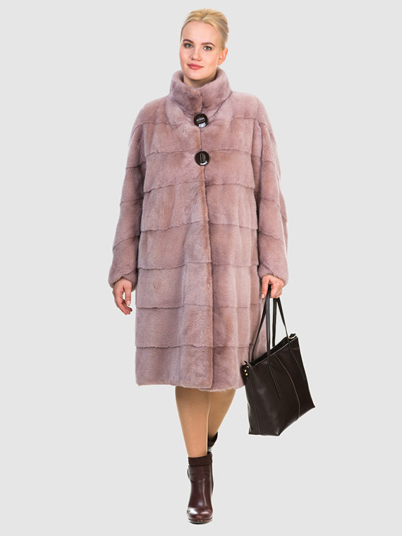 Шуба из норки мех норка, цвет розовый, арт. 11903526  - цена 105990 руб.  - магазин TOTOGROUP