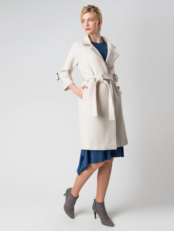 Текстильное пальто 30%шерсть, 70% п\а, цвет светло-бежевый, арт. 12005554  - цена 5590 руб.  - магазин TOTOGROUP