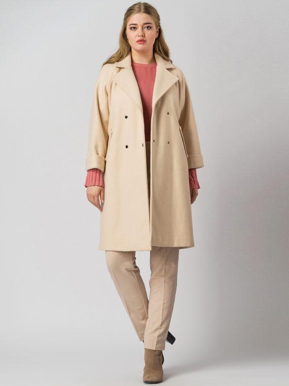 Текстильное пальто 30%шерсть, 70% п\а, цвет светло-бежевый, арт. 12005555  - цена 6290 руб.  - магазин TOTOGROUP