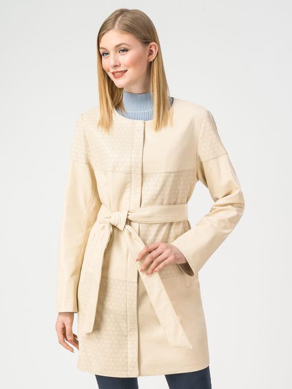 Кожаное пальто эко-кожа 100% П/А, цвет светло-бежевый, арт. 12108172  - цена 7490 руб.  - магазин TOTOGROUP