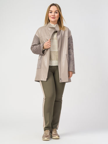 Кожаная куртка эко-кожа 100% П/А, цвет светло-бежевый, арт. 12108200  - цена 3790 руб.  - магазин TOTOGROUP