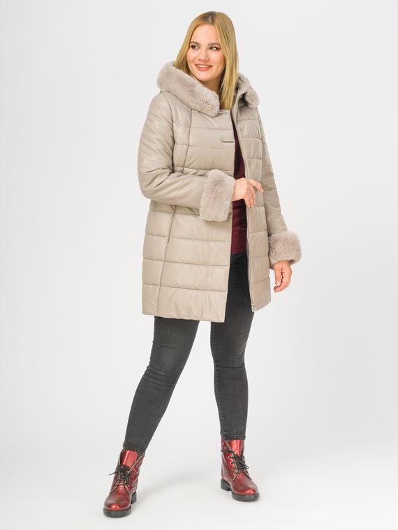 Кожаное пальто эко-кожа 100% П/А, цвет светло-бежевый, арт. 12108575  - цена 12690 руб.  - магазин TOTOGROUP