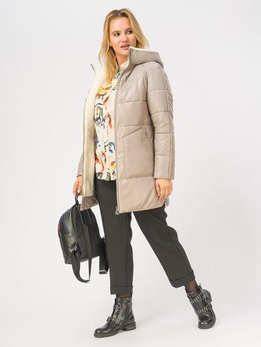 Кожаная куртка эко-кожа 100% П/А, цвет светло-бежевый, арт. 12109051  - цена 9990 руб.  - магазин TOTOGROUP