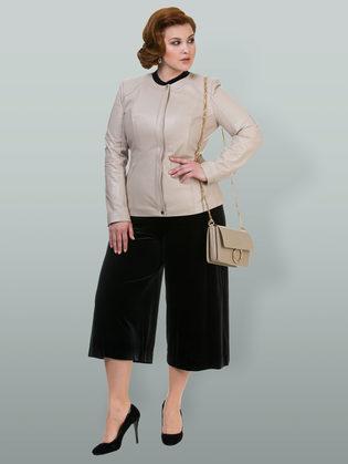 Кожаная куртка кожа овца, цвет светло-бежевый, арт. 12700028  - цена 12690 руб.  - магазин TOTOGROUP
