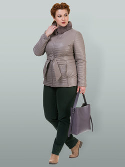 Кожаная куртка эко кожа 100% П/А, цвет светло-бежевый, арт. 12700135  - цена 6990 руб.  - магазин TOTOGROUP