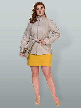 Кожаная куртка кожа овца, цвет светло-бежевый, арт. 12700141  - цена 14190 руб.  - магазин TOTOGROUP