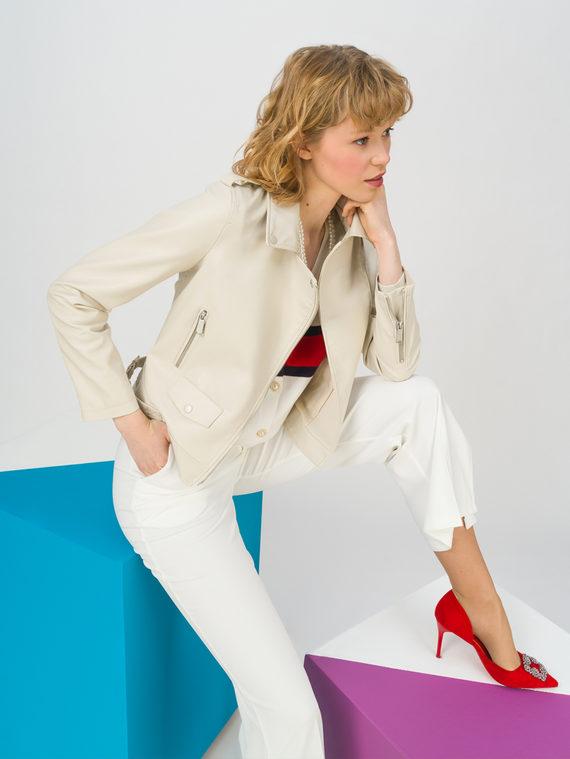 Кожаная куртка эко-кожа 100% П/А, цвет светло-бежевый, арт. 12711712  - цена 3990 руб.  - магазин TOTOGROUP