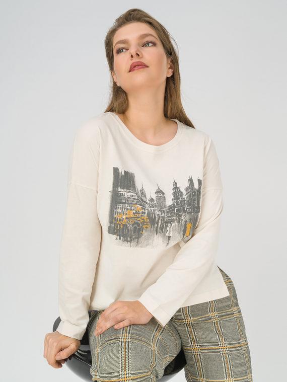 Блуза 100% хлопок, цвет светло-бежевый, арт. 12811200  - цена 1570 руб.  - магазин TOTOGROUP