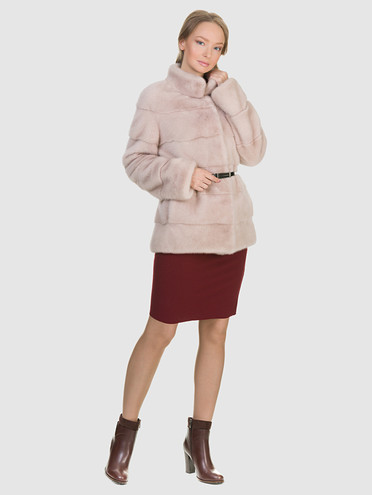 Шуба из норки мех норка, цвет розовый, арт. 12903395  - цена 94990 руб.  - магазин TOTOGROUP