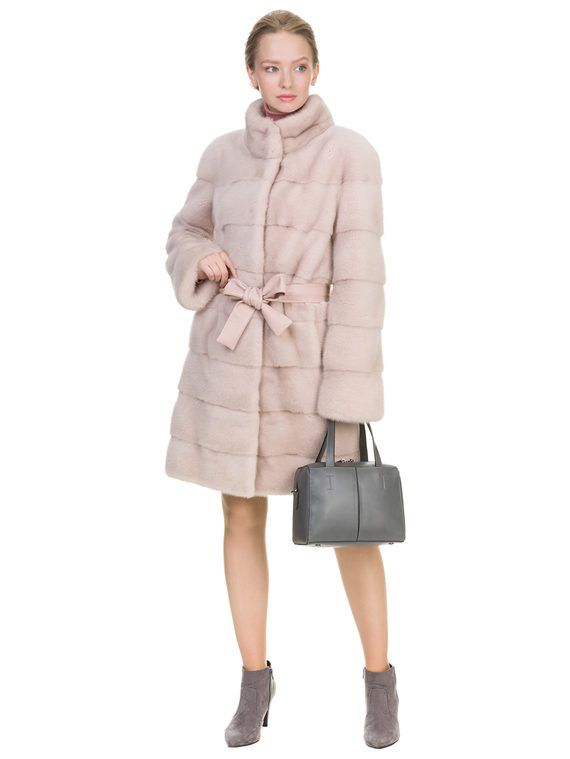 Шуба из норки мех норка, цвет розовый, арт. 12903457  - цена 94990 руб.  - магазин TOTOGROUP