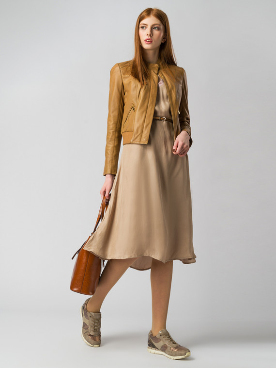 Кожаная куртка кожа , цвет светло-коричневый, арт. 13005514  - цена 7490 руб.  - магазин TOTOGROUP