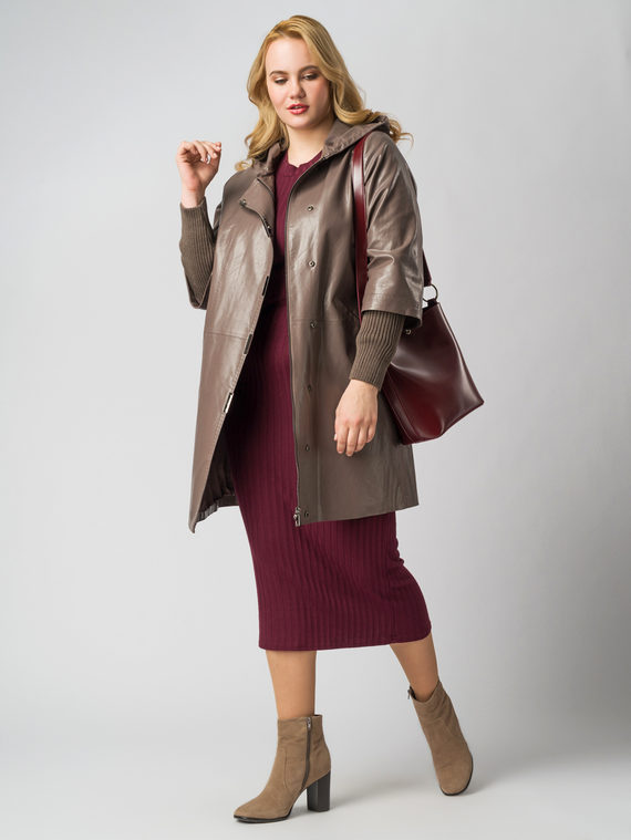 Кожаное пальто эко кожа 100% П/А, цвет светло-коричневый, арт. 13005790  - цена 9990 руб.  - магазин TOTOGROUP
