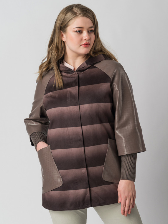 Кожаная куртка эко-замша 100% П/А, цвет светло-коричневый, арт. 13005792  - цена 8490 руб.  - магазин TOTOGROUP