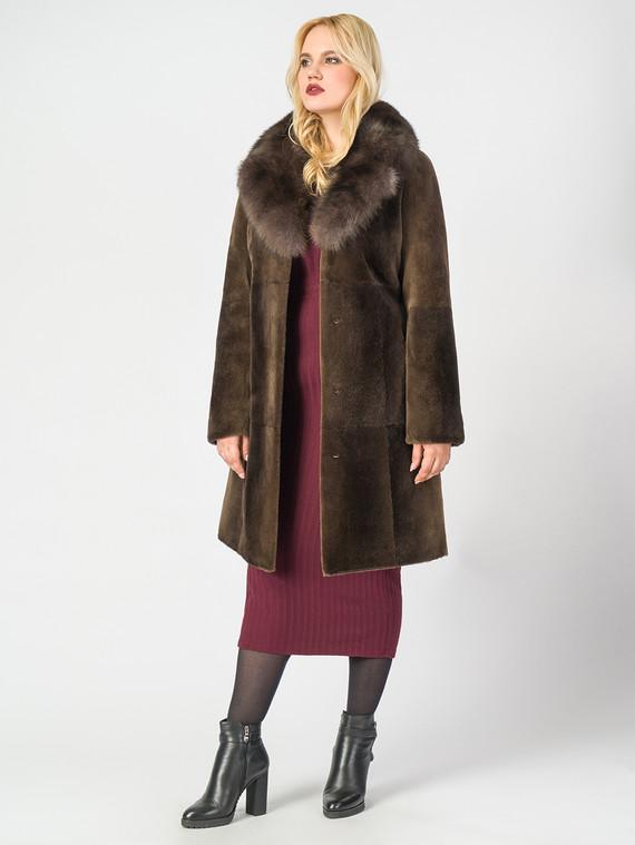 Шуба из бобра мех бобер, цвет коричневый, арт. 13006669  - цена 33990 руб.  - магазин TOTOGROUP